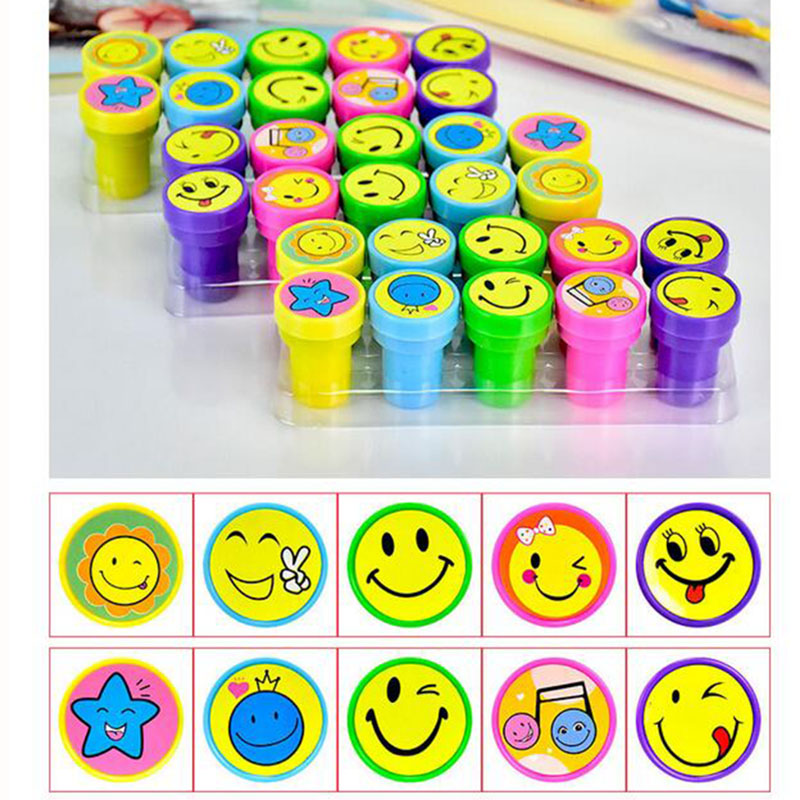 YIKAZE 10pcs/lot Kids Cartoon Cute Smile Stamp Rubber Stamps Self Inking Stamps for scrapbooking Children's Toy Gift Box new 220v photosensitive portrait flash stamp machine kit self inking stamping making seal holder film pad no ink