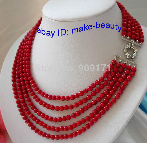 wholesale stunning 5rows 5mm round red crude coral necklace Bridal Jewelry Crystal Women free shippingwholesale stunning 5rows 5mm round red crude coral necklace Bridal Jewelry Crystal Women free shipping