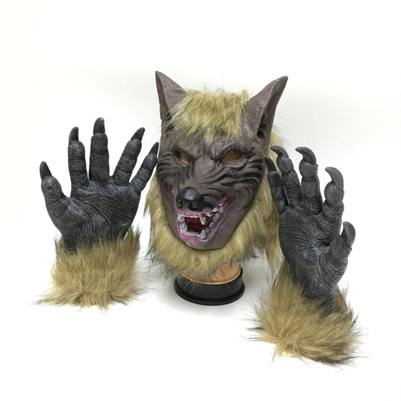 Scary Horror Animal Werewolf Glove Children's Party Creepy Full Face Wolf Latex Mask Hat And Wolf Claws Theater Prank Halloween