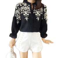 2016 Fall Plus Size Shirts Women Blouses Long Sleeve White Loose Cotton Tops Black Shirt Big