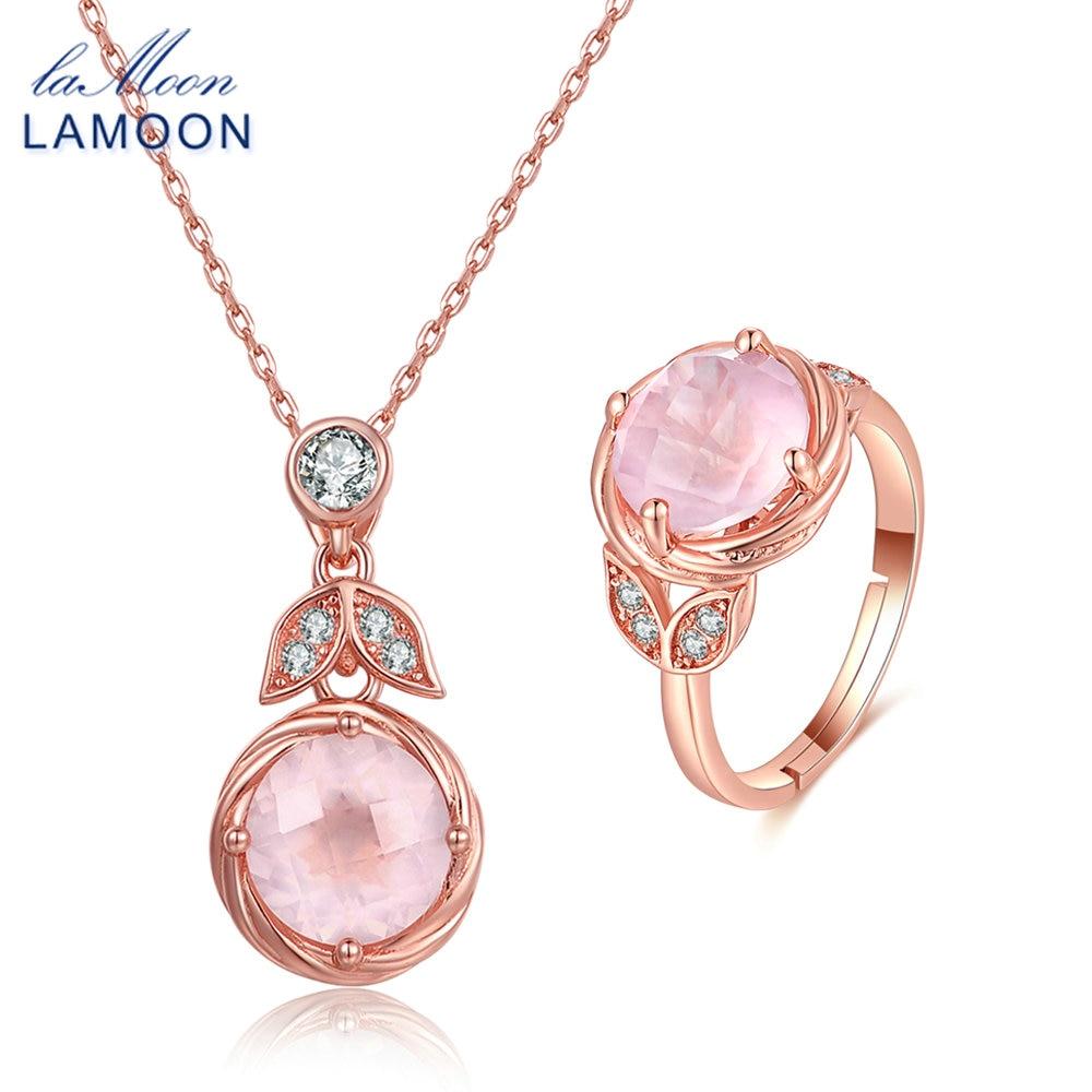 LAMOON 925 ensembles de bijoux en argent Sterling pour les femmes romantique Rose 100% naturel Rose collier de Quartz bague ensemble V023-3 de fiançailles