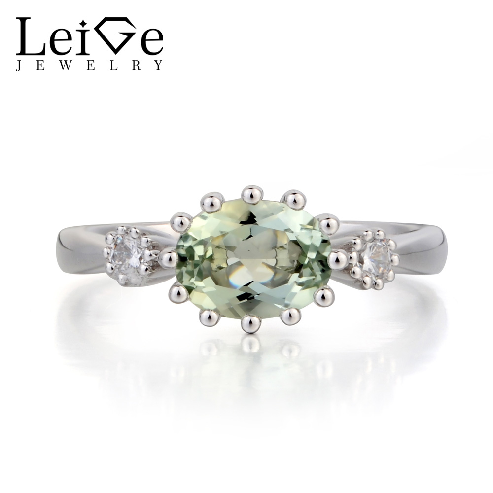 Leige Jewelry Anniversary Ring Natural Green Amethyst Ring Oval Cut Green Gemstone 925 Sterling Silver Ring Three Stones Ring