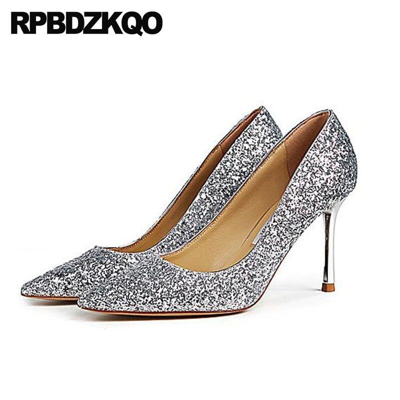 Здесь можно купить  prom pumps 8cm party golden ladies gold glitter shoes size 4 34 thin silver luxury customized pointed toe dress 2018 high heels  Обувь