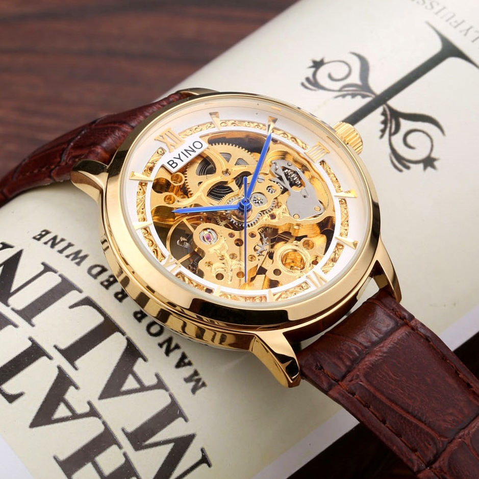 Top Brand Skeleton Mechanical Watch Automatic Men Classic black Gold Leather Mechanical Wrist Watches Relogio Masculino in Mechanical Watches from Watches