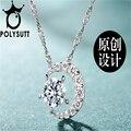 Luxo Cristal De Swarovski Permanente AAA + CZ Lua colar de pingente de cristal de Ametista jóias meninas novas das mulheres
