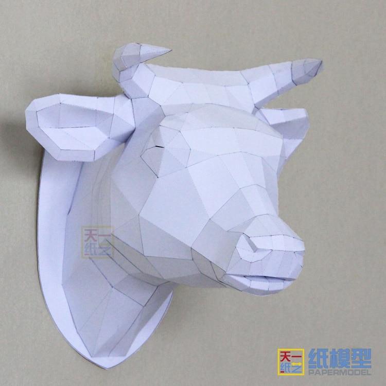 Paper wolf head Model Toys Handmade DIY material manual creative