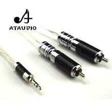 ATAUDIOไฮไฟเงินชุบ3.5มิลลิเมตรเพื่อ2rcaสายHi end 3.5 Auxไปยังคู่อาร์ซีเอMP3/MP4คอมพิวเตอร์Amplifer Interconnectorสาย