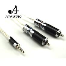 ATAUDIO Cable Hifi de 3,5mm a 2rca, alta gama, 3,5 Aux a doble RCA, MP3/MP4, amplificador de ordenador, Cable de interconector