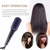 2 In 1 LCD Comb Electric Hair Straightener Brush Fast Ceramic Comb Heating Anti Scald Ionic