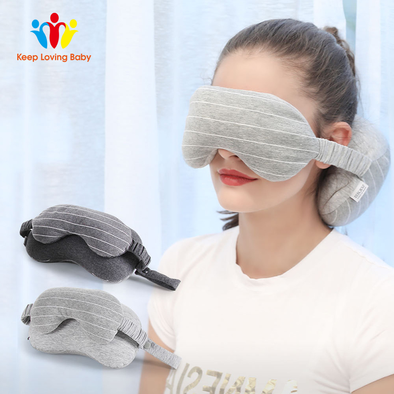 Multi-function Business Travel Neck Pillow Eye Mask Two-in-one Neck Home Eye Mask Storage Bag travel U-shaped Plush Pillows