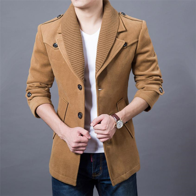 2019 High Quality Double Neck Trench Coat Winter Thicken Man Fashion Windbeaker Warm Jacket Men's Business Casual Coats