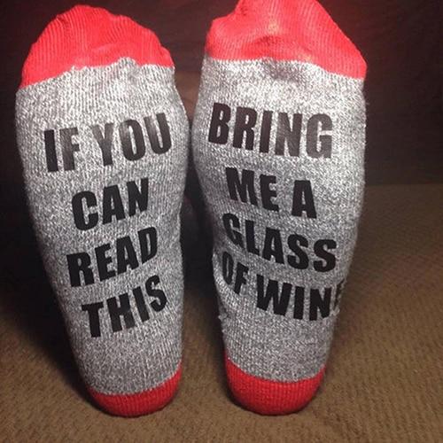 Femmes Hommes Si Vous Pouvez Lire Ce M'apporter Un Verre De Vin Lettre Imprimer Tube Chaussettes