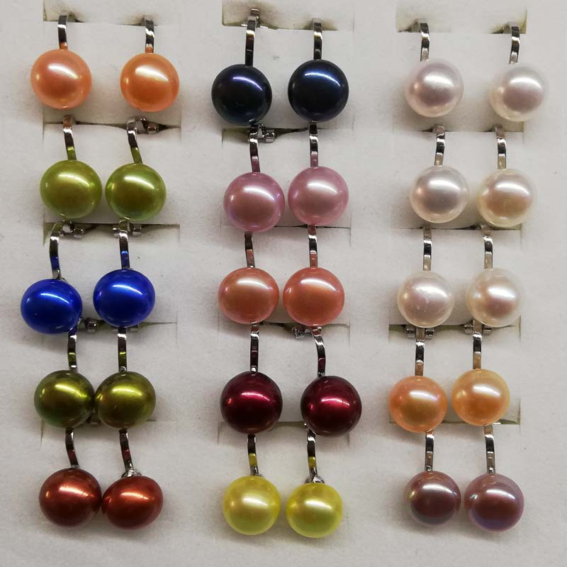 wholesale 15pairs multicolors clip pearl earrings 9mm silver plated free shipping