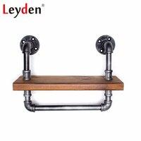 צינור ברזל ליידן תעשייתי מדף אמבטיה מדף יין עם ברזל בר קיר רכוב מדף עם מגבת בר עץ קישוט הבית