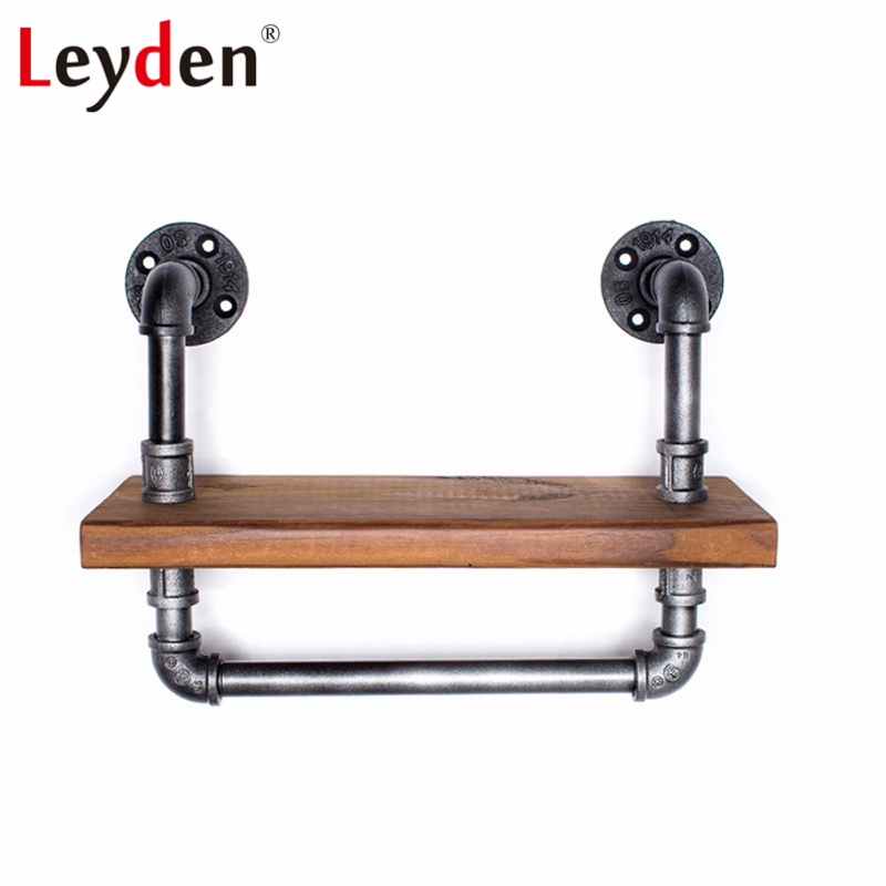 Leyden Iron Pipe Bathroom Shelf Industrial Wine Rack with Iron Bar Wall Mounted Wooden Shelf with Towel Bar Home Decoration коврик vortex ячеистый 50х80х1 6см грязесборный резина