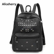 Aliceherry Женщины оксфорд рюкзак школа дорожная сумка женщин известных брендов Маленький Большой Заклепки рюкзак женская винтаж Черный рюкзаки