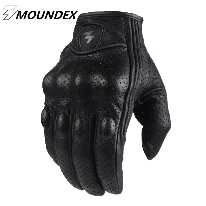 Retro Perforated Leather Motorcycle Gloves 2 Style Cycling Moto Motorbike Protective Gears Motocross Glove free shipping new arrival vintage leather tassel urban retro glove motorcycle motorbike gloves touch screen