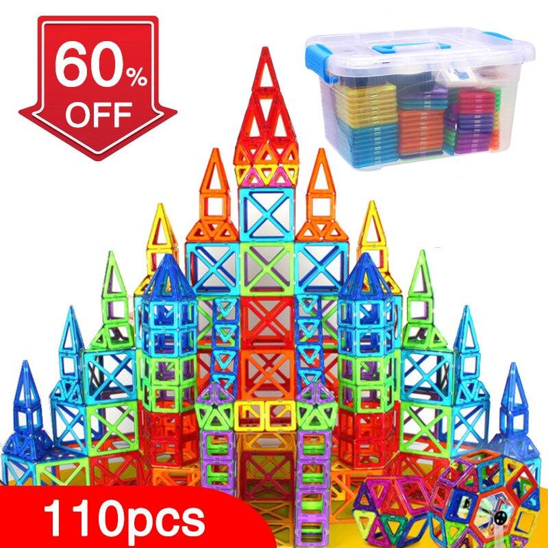 BD 110 pz Blocchi Magnetici Designer Costruzione di Giocattoli Set Magnete Magnetico Giocattoli Educativi Per I Bambini Scherza il Regalo