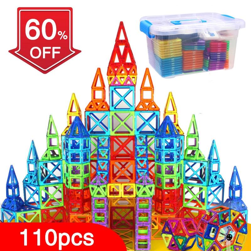 BD 110pcs Magnetic Blocks Magnetic Designer Building Construction Toys Set Magnet Educational Toys For Children Kids Gift