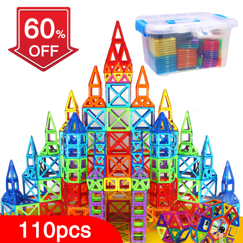 BD 110pcs Magnetic Blocks Magnetic Designer Building Construction Toys Set Magnet Educational Toys For Children Kids Gift