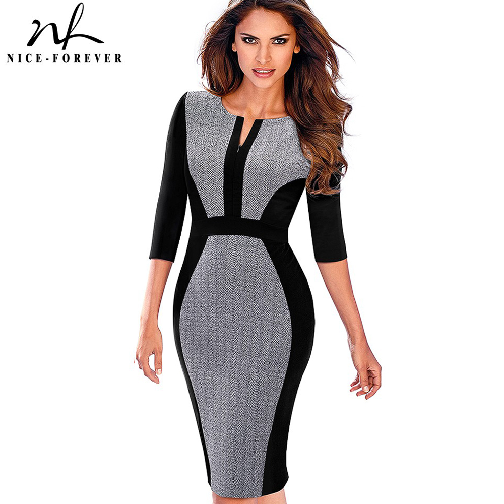 Nice-forever Women Retro Contrast Patchwork Wear To Work Business Vestidos Office Bodycon Zipper Sheath Female Dress B409
