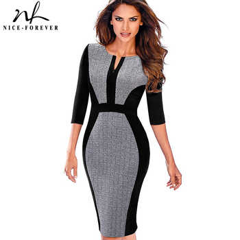 Nice-forever Women Retro Contrast Patchwork Wear to Work Business vestidos Office Bodycon Zipper Sheath Female Dress B409 - DISCOUNT ITEM  30% OFF All Category