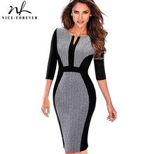 素敵な永遠の女性のレトロなコントラストパッチワーク着用して作業する vestidos オフィスボディコンジッパーシース女性ドレス B409