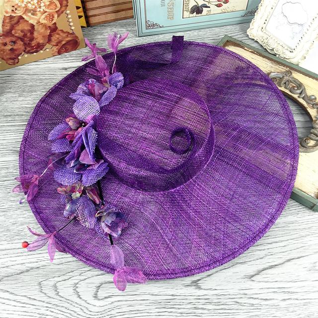 Floral Linho Tule Roxo Do Casamento Chapéu De Noiva Fina Jardim Foto De Noiva Acessório Do Cabelo Noiva Mãe Ocasião Especial Do Partido Chapéu