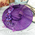 Floral Tulle Linen Purple Wedding Bridal Hat Fine Garden Bridal Photo Hair Accessory Bride Mother Special Occasion Party Hat