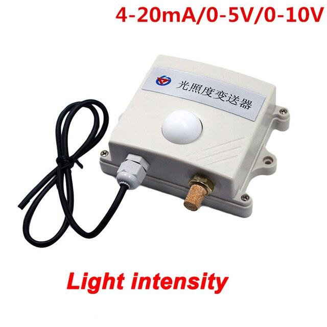 Livraison gratuite transmetteur de capteur dintensité lumineuse 4 20mA 0 10V 0 5V pour le contrôle de léclairage de ferme de serre agricole