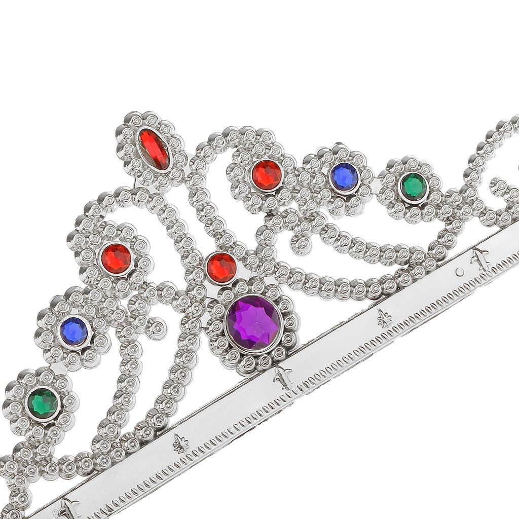 ยุคกลาง Silver Queen Crown ปรับหมวก Royal ผู้ใหญ่กฎ Britannia อัญมณีมงกุฎชุดแฟนซีเครื่องแต่งกายอุปกรณ์เสริมหมวก