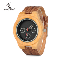 BOBO BIRD Brand Designer Bamboo Wood Watch Men Soft Cork Leather Band Watches Wristwatch Auto Date Calendar Accept Logo Quartz Watches