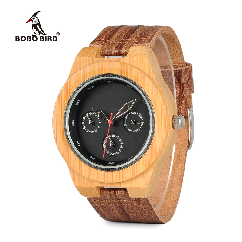BOBO BIRD WH28 Brand Designer Bamboo Wood Watch Men Soft Cork Leather Band Watches Wristwatch Auto Date Calendar bobo bird k03 newest arrival nature bamboo mens watches top brand uv printing philippines flag dial watch case soft leather band