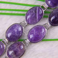 "Free Shipping Fashion Jewelry 18 Karat White Gold Plated 15x20MM Natural Amethyst Bracelete 7.5-9"" 1Pcs H876"