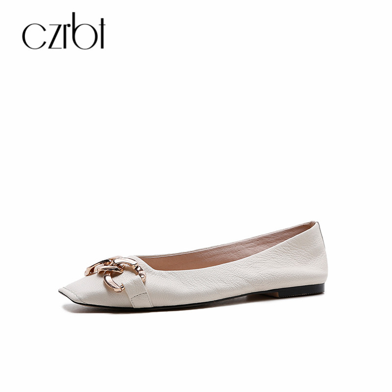 CZRBT Autumn Slip On Ladies Flat Shoes Loafers Genuine Leather Ballet Flats Single shoes Metal Decoration Square Toe Women Shoes brilliant genuine sheepskin leather flat heel single shoes 2016 spring summer square toe rhinestones black rose red ballet flats