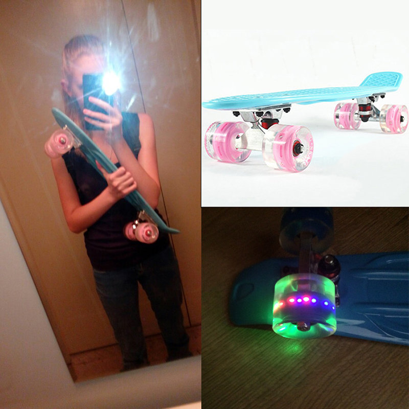 Moscow Delivery 22 Skate Board Style Mini Cruiser Long Board Pastel Color Adult Child Fish Skateboard with LED Flashing Wheels 2016 new peny board skateboard complete retro girl boy cruiser mini longboard skate fish long board skate wheel pnny board 22
