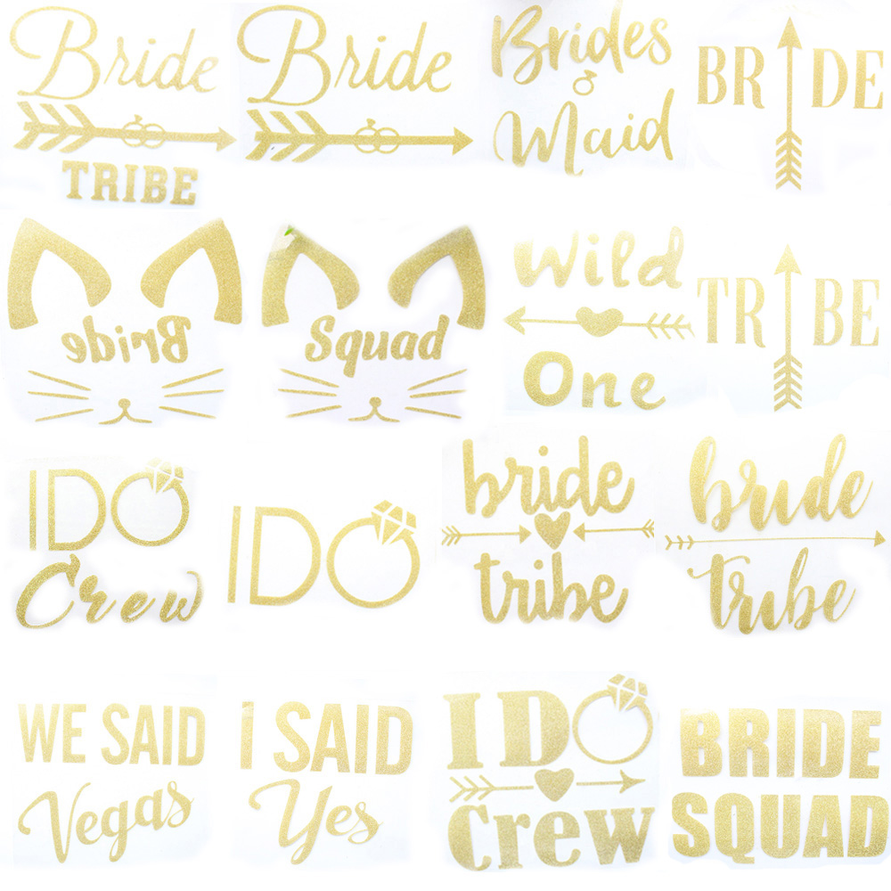 Wedding Party Bride Team Flash Stickers Clothes Patches Bridesmaid Tribe Squad Golden Sticker Bride To B Wedding Supplies DIY