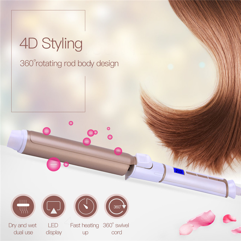 CkeyiN LCD Screen Ceramic Electric Hair Curler Roller 25mm Curling Iron Curling Wand Tong Heating Deep Curl Hair Styler Tools 35 ckeyin 9 31mm ceramic curling iron hair waver wave machine magic spiral hair curler roller curling wand hair styler styling tool