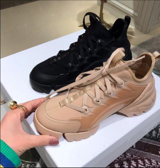 Nouvelle plate-forme baskets femmes chaussures à semelles compensées talon épais en cuir véritable à lacets Patchwork femme chaussures décontractées grande taille personnalisé