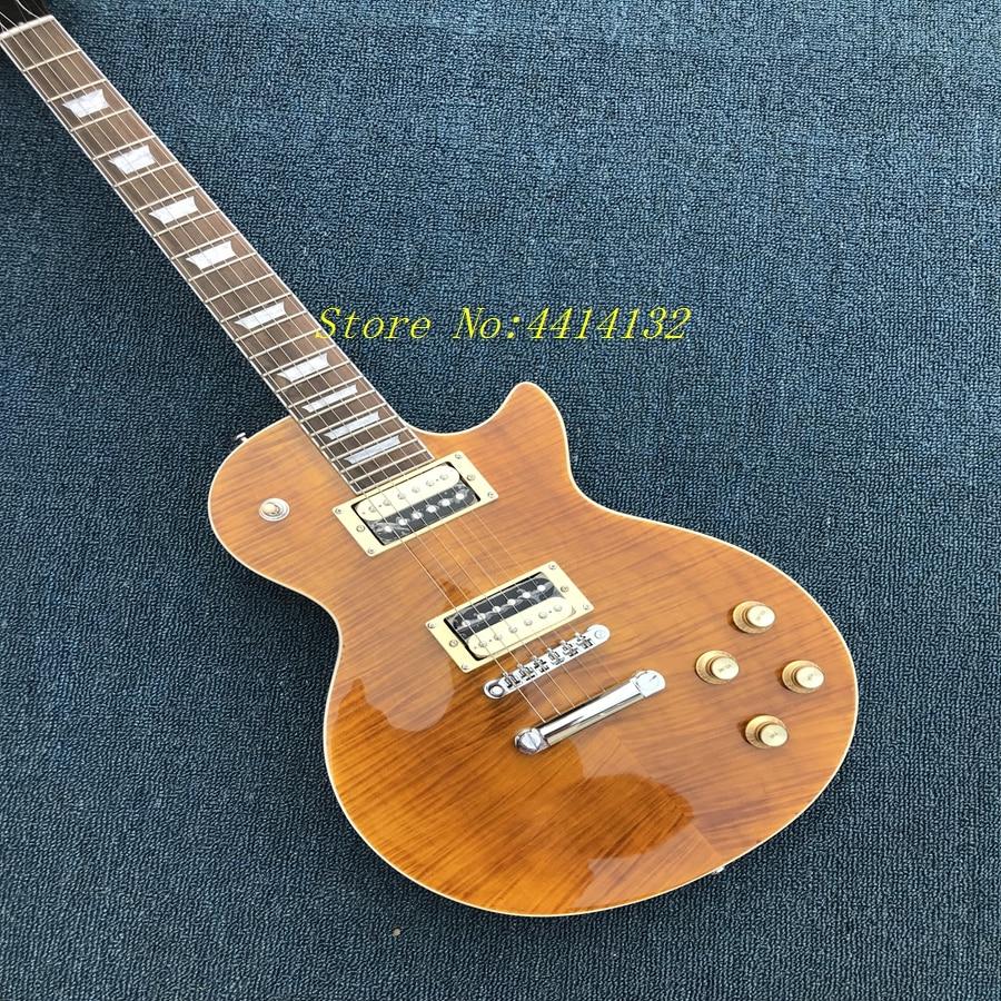 Vendita calda slash chitarra, zebra cera pickup, di alta qualità impiallacciatura di acero fiammato top, AAA legno di mogano., con slash signature