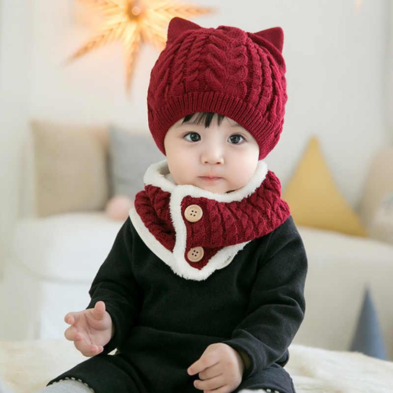 9032752981c ... ideacherry Winter Wool Girls Boys Knitted Suits Hat Cute Princess Child  Caps Scarf Set Newborn Cartoon ...