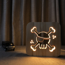 Skull LED Night Light 3D Decor Lamp USB Wooden Nightlight Child Beedroom Desk Table Gift IY801101