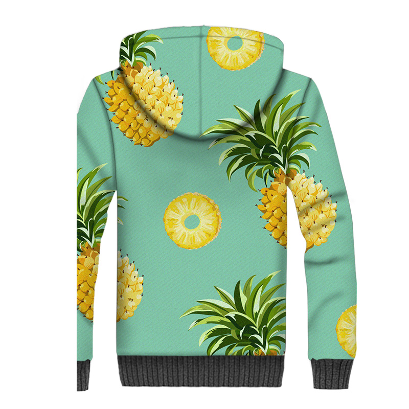 Pineapple Jacket Men Fruit 3D Print Hoodie Men Cute Indie Pop Hooded Sweatshirt 2018 New Design Winter Thick Fleece Warm Coat in Jackets from Men 39 s Clothing