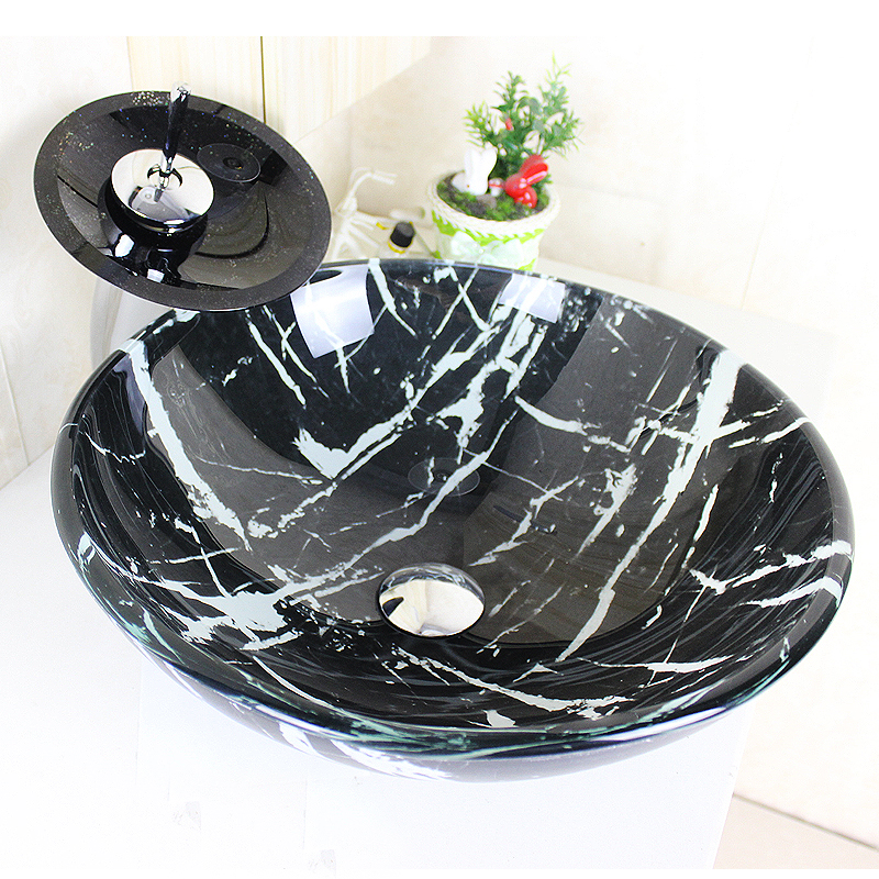 Modern Round Black and White Lines Tempered Glass Sink and Faucet ...