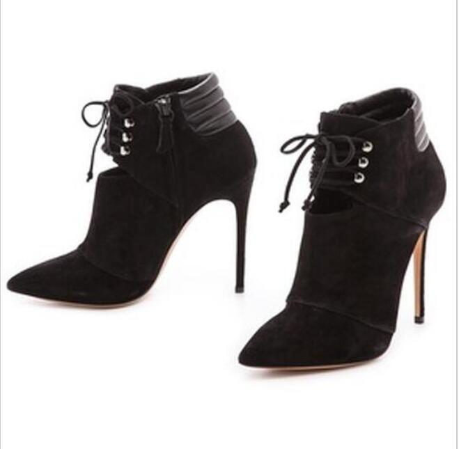 2017 Autumn New Fashion Sexy Pointed Toe Ankle Boots for Woman Cut-Outs Lace-up High Heel Boots Black Suede Thin Heels Boots newest pointed toe light blue denim high heels boots woman sexy thigh high boots cut outs gladiator boots 2017 thin heels boots