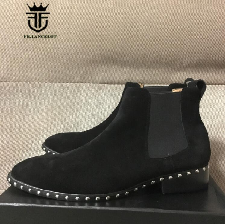FR.LANCELOT 207 pointed toe men leather boots brand desigh men fashion boots slip on mujer bota spike stud chelsea booties
