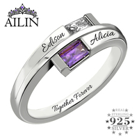 AILIN Double Baguette Bypass Ring Silver Birthstone Engraved Name Ring Promise Jewelry Gift for Her