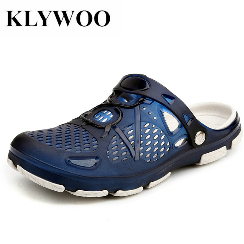 KLYWOO Luxury Brand Mens Beach Sandals Casual Men Jelly Shoes Summer Fashion Beach Slippers Slides Hole Hollow Out Breathable