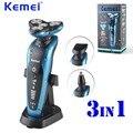 Kemei venda hot 3 em 1 lavável recarregável barbeador elétrico 4d flutuante lâmina abs máquina de barbear para homens de barbear bt-003