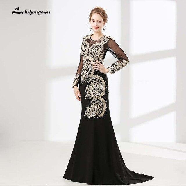 Black Mermaid Evening Dress Long Sleeve Lace Sequin Prom Dress ...
